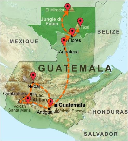 Carte-Guatemala-Aventure-Volcans